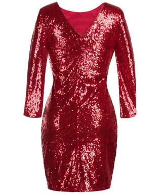 IBTOM CASTLE Women's Sparkle Glitzy Glam Sequin 3/4 Sleeve Flapper Evening Party Club Bodycon Cocktail Dress Midi Bridesmaid Maxi Gown L