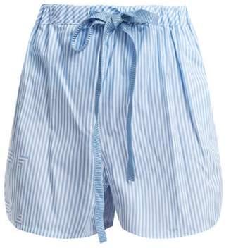 Fendi Striped Cotton Poplin Shorts - Womens - Light Blue