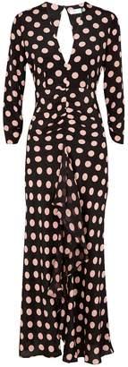 Rixo Rose Polka-dot Silk Maxi Dress