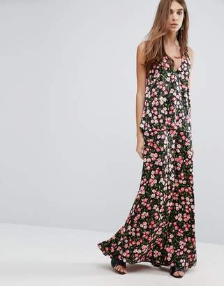 Warehouse Cherry Blossom Printed Cross Back Maxi Dress