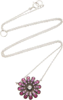 Nam Cho 18K White Gold, Ruby And Diamond Necklace