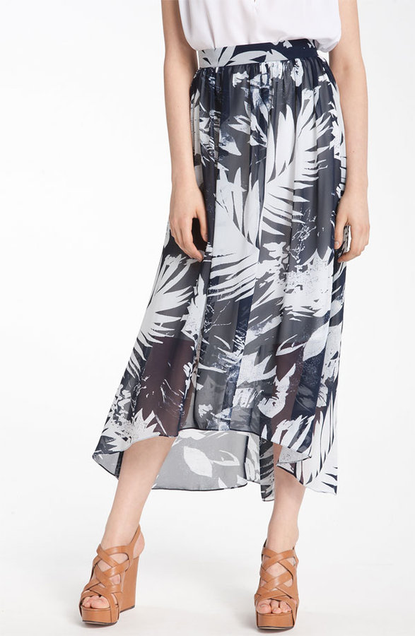 Vince Camuto 'Abstract Leaf' Print Maxi Skirt