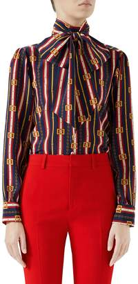 Gucci Chain Belt Print Silk Bow Neck Blouse