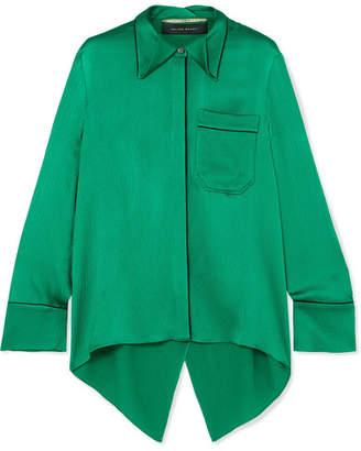 Roland Mouret Algar Open-back Hammered-silk Blouse - Emerald
