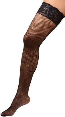 60e4aa4b0 Angelique Womens Plus Size Hosiery Fishnet Lace Top Stay Up Silicone Thigh  High Stockings 18
