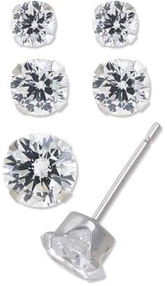 Brilliance+ Brilliance Fine Jewelry 10kt White Gold 3/4/5mm Cubic Zirconia Stud Earrings, Set of 3