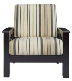 Homesvale Quinn X Design Arm Chair with Exposed Wood Frame in Pink Stripe