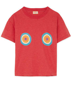 LHD - Printed Cotton-jersey T-shirt - Tomato red