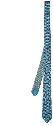Geometric-print skinny silk-twill tie