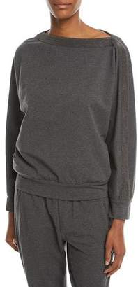 Brunello Cucinelli Long-Sleeve Pullover Sweatshirt w/ Monili Trim