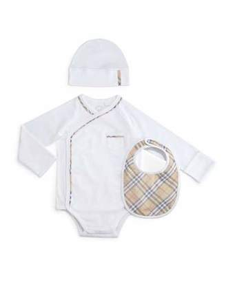 Burberry Konner 3-Piece Playsuit Set, White, Size 1-24 Months $150 thestylecure.com