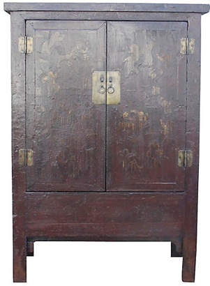 One Kings Lane Vintage Chinoiserie Red & Gilt Asian Armoire - de-cor