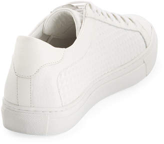 Jared Lang Men's Spike-Leather Low-Top Sneakers, White