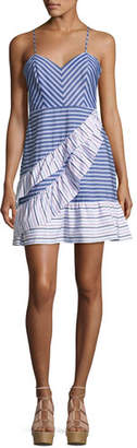 Parker Brooklyn Striped Layered Ruffled Dress, Multi