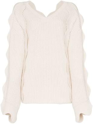 Stella McCartney scallop sleeved oversized knitted jumper