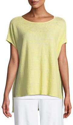 Eileen Fisher Melange Linen Bateau-Neck Poncho Top, Plus Size