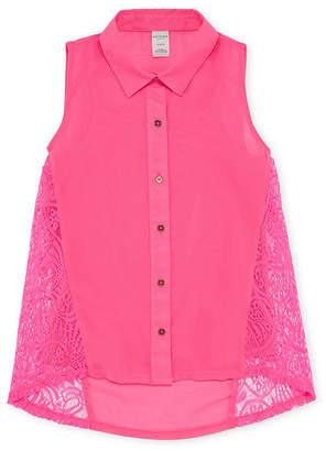 Arizona Button Up Lace Chiffon Tank Top - Girls' 4-16 & Plus