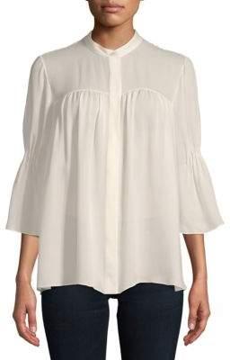 Carolina Herrera Bell-Sleeve Silk Blouse