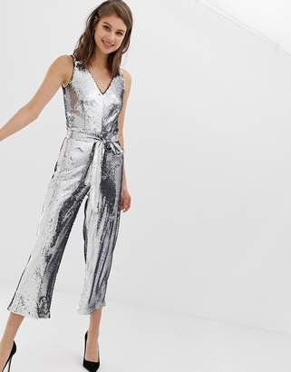 Warehouse jumpsuit in silver sequin