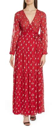 BA&SH Madona Floral Surplice Silk Blend Chiffon Maxi Dress
