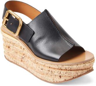 Chloé Black Leather Wedge Slingback Sandals