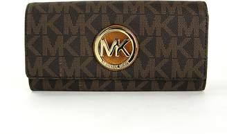 Michael Kors Womens Fulton Signature Long Continental Clutch Wallet Brown/Acorn