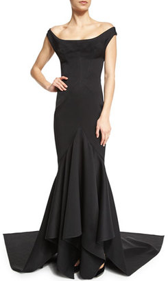 Zac Posen Off-The-Shoulder Ruffle-Inset Gown, Black $4,990 thestylecure.com