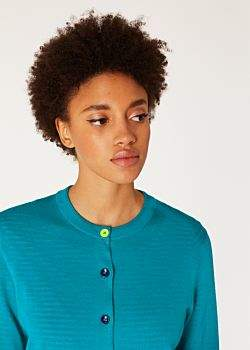Women's Turquoise Merino Wool Cardigan With Openwork Cuff