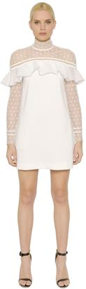 Ruffled Crepe & Lace Dress $381 thestylecure.com