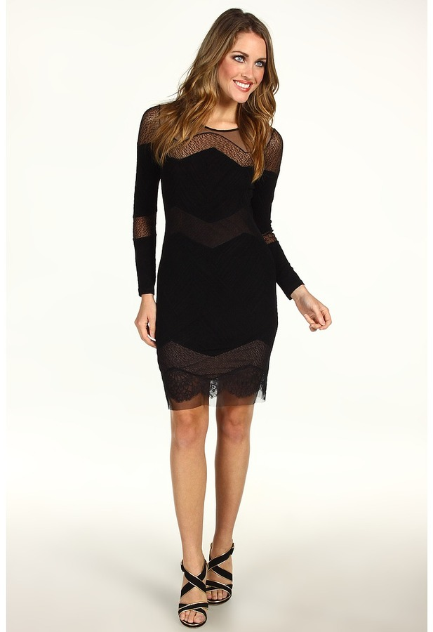 BCBGMAXAZRIA Camila Lace and Tulle Dress (Black) - Apparel