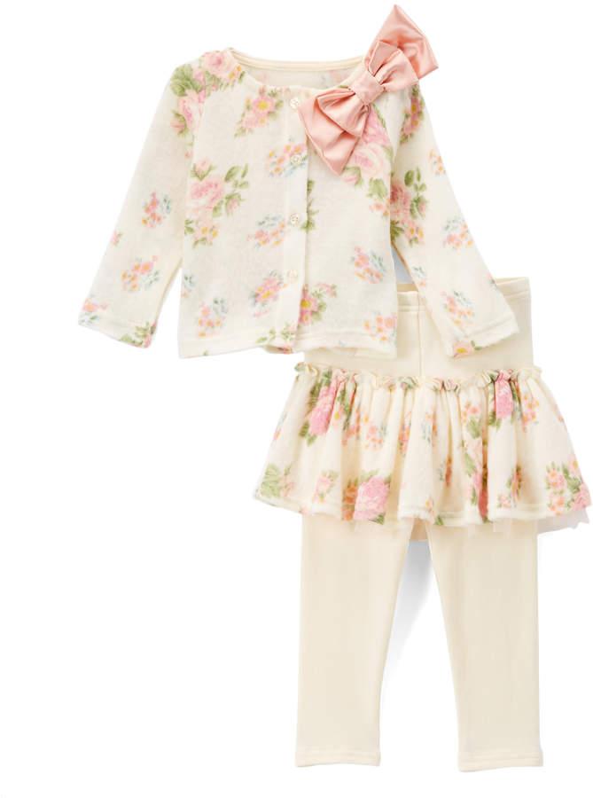 Ivory Floral Sweater & Skirted Leggings Set - Toddler