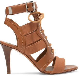 Chloé Rylee Cutout Leather And Canvas Sandals - Tan