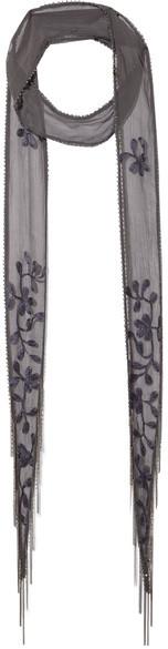 Chan LuuChan Luu - Embellished Embroidered Chiffon Scarf - Charcoal
