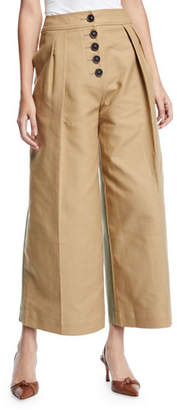 Brodie REJINA PYO Pleated Cropped Wide-Leg Trousers