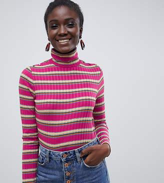 Esprit roll neck stripe top in pink