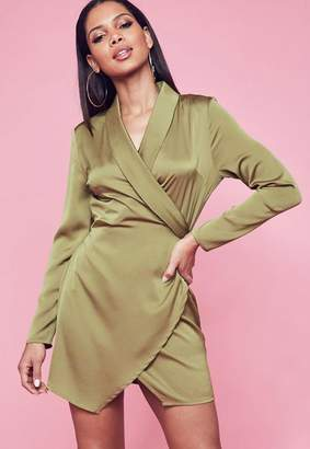 Missguided Khaki Textured Satin Collar Wrap Ruched Shift Dress