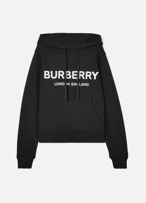 Burberry Printed Cotton-jersey Hoodie - Black