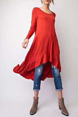 Easel Crimson High-Low Tunic-Dress