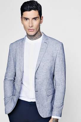 boohoo Blue Linen Skinny Fit Summer Blazer