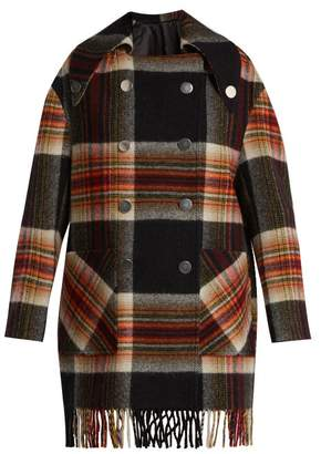 Calvin Klein X Pendleton Fringed Plaid Wool Coat - Womens - Black Multi