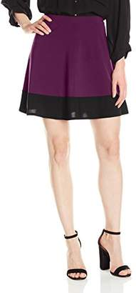 Star Vixen Women's Stretch Ity Colorblock Hem Swingy Full Skater Skirt,L