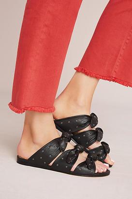 Pour La Victoire Logan Bow Slide Sandals $228 thestylecure.com