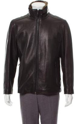 Andrew Marc Rabbit Fur-Lined Leather Jacket