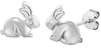 Lily & Lotty for Girls Rhodium Plated 925 Sterling Silver Hand Set Diamond Binky Bunny Stud Earrings