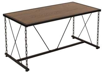 Flash Furniture Vernon Hills Collection Antique Wood Grain Finish Coffee Table with Chain Accent Metal Frame
