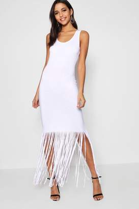 boohoo Ava Tassel Sleeveless Maxi Dress