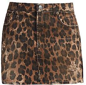 R 13 Women's High-Rise Leopard Print Mini Skirt