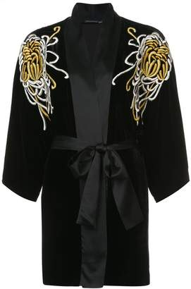 Josie Natori embroidered belted night-gown