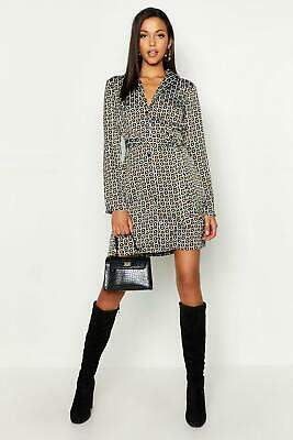 boohoo NEW Womens Tall Geo Print Belted Shirt Dress in
