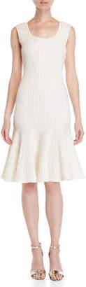 Carolina Herrera Metallic Ribbed Knit Flounce Dress